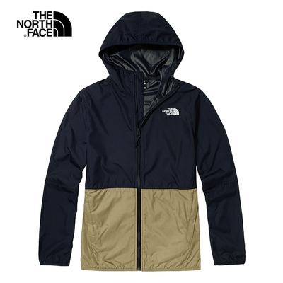 The North Face北面男款藍棕色拼接防潑水連帽外套 4NEF10N