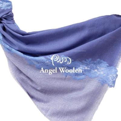 【ANGEL WOOLEN】頂級雙色漸層染蕾絲CASHMERE印度手工披肩(共六色)