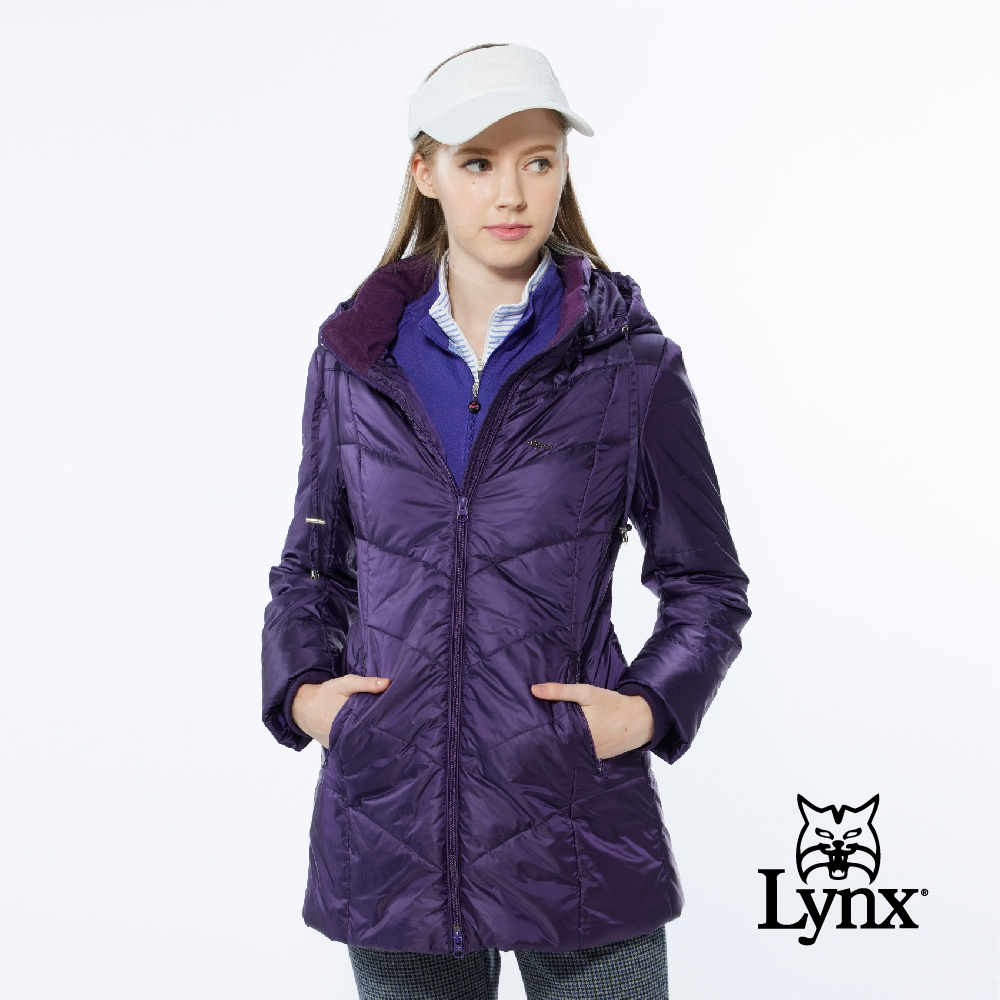 【Lynx Golf】女款長版防風保暖潑水鋪棉款素面壓線長袖可拆式連帽外套-深紫色