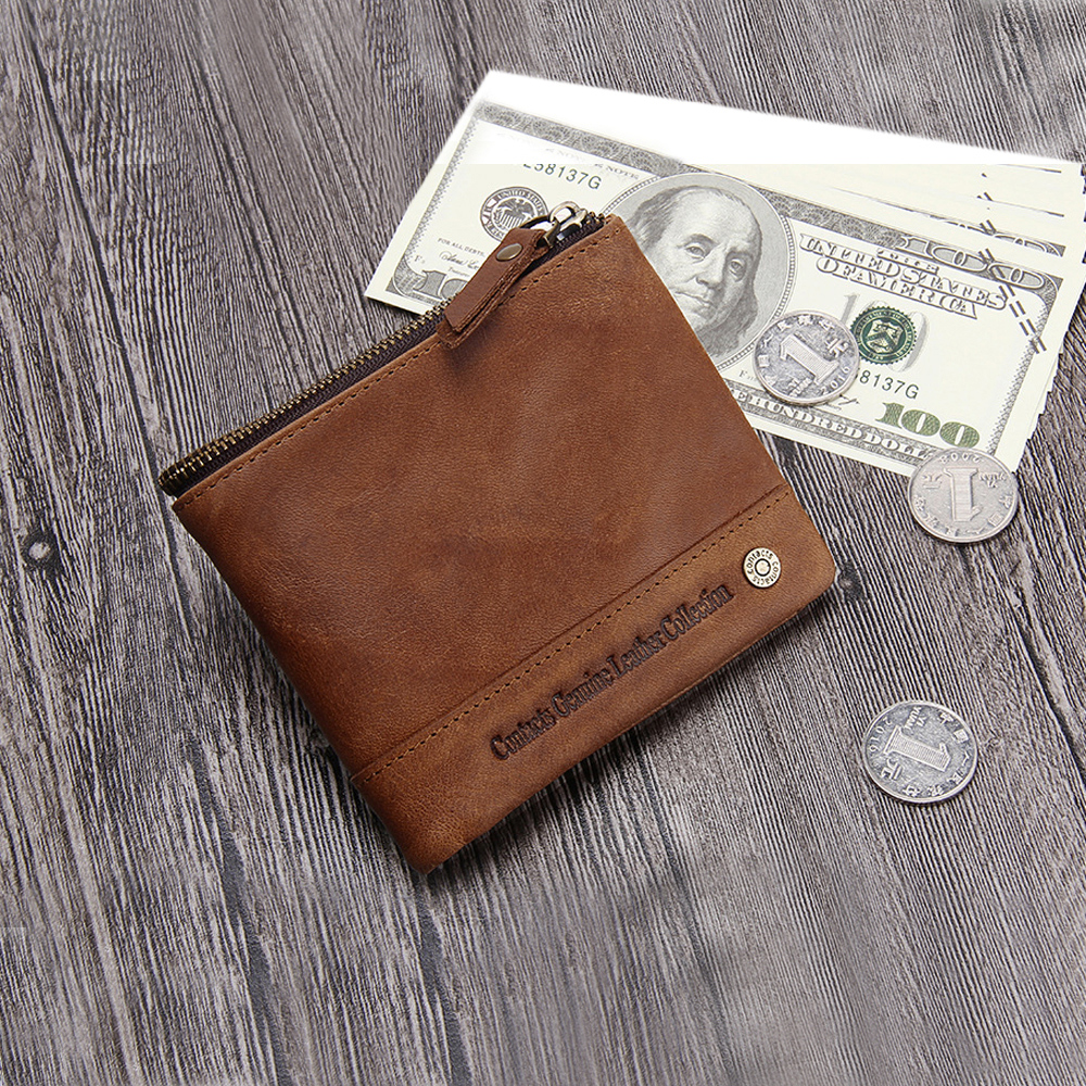 leaper CONTACTS義大利瘋馬皮RFID屏蔽防側錄二折短夾錢包 棕色