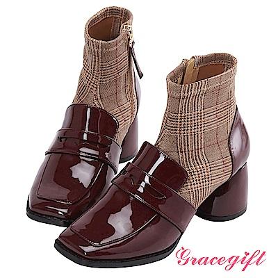 Grace gift X Kerina妞妞-異材質拼接襪型短靴 酒紅
