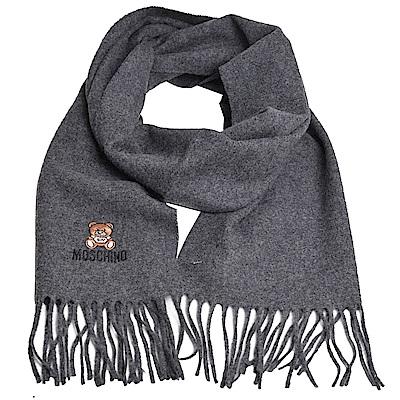 MOSCHINO 義大利製美麗諾羊毛小熊圖騰字母LOGO刺繡圍巾(深灰色)