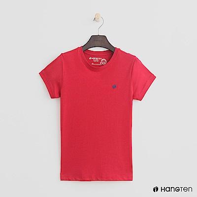 Hang Ten - 女裝 - 有機棉-logo圓領純色T恤 - 紅
