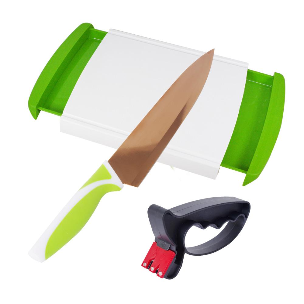 EG Home 宜居家 抽屜砧板玫瑰金刀組(砧板x1+玫瑰金刀x1+磨刀器x1)