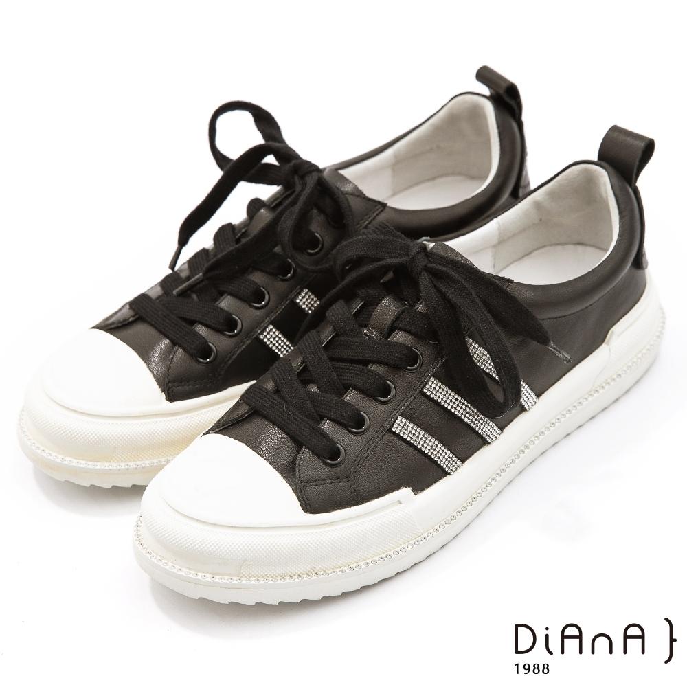 DIANA 4公分質感牛皮水鑽線條飾經典休閒鞋-簡約百搭-黑