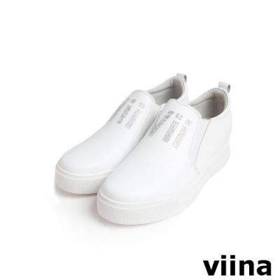 viina 鑲鑽字母內增高休閒鞋-白