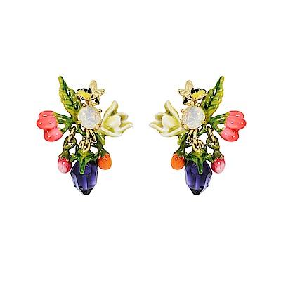 Les Nereides 花卉系列 小蜜蜂採蜜鑲寶石耳環 耳針式