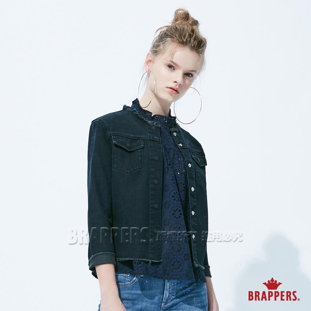 BRAPPERS 女款 不收邊彈性短版牛仔外套-黑 @ Y!購物