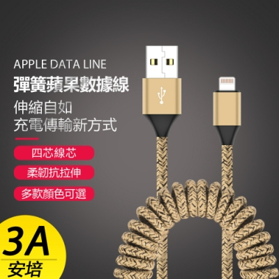 伸縮自如Apple蘋果Lightning 3A(安培)彈簧數據傳輸充電線-1.5米