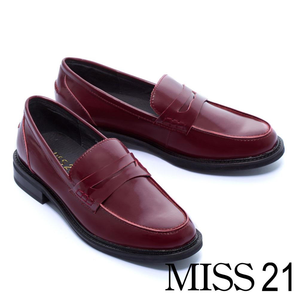 厚底鞋 MISS 21 經典不敗復古學院風百搭純色樂福厚底鞋-紅
