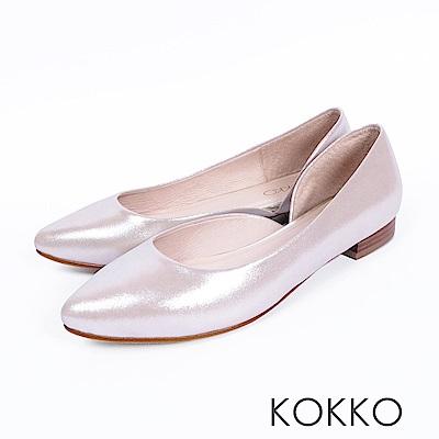 KOKKO -首爾早晨尖頭側挖空素面平底鞋-流沙金