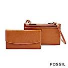 FOSSIL SAGE 焦糖色多夾層兩用真皮小包