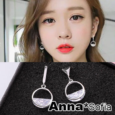 AnnaSofia 韓國個性半圓刻晶 不對稱925銀針耳針耳環(銀系)
