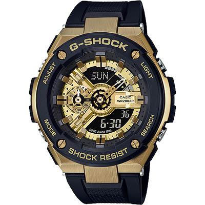 G-SHOCK 強化防震設計款雙顯錶-黑X金(GST-400G-1A9)/52mm