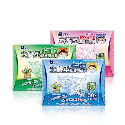 藍鷹牌 2-6歲幼幼立體防塵口罩 50片/盒(束帶式/寶貝熊圖案)