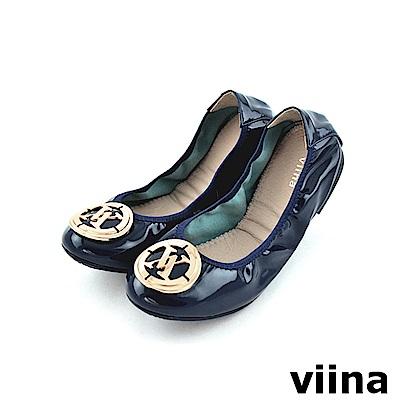 viina LOGO鏡面摺疊鞋MIT - 深藍