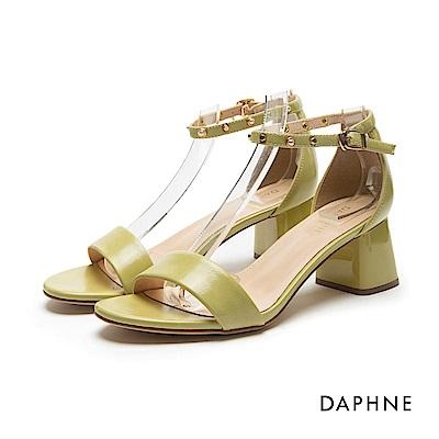 達芙妮DAPHNE 涼鞋-珍珠鉚釘粗跟一字涼鞋-青蘋綠
