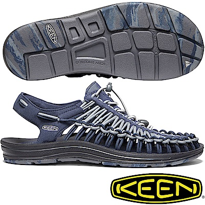 KEEN 1020781藍/灰 Uneek男專業戶外護趾編織涼鞋