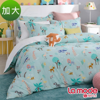 La Mode寢飾 森巴嘉年華100%精梳棉兩用被床包組(加大)