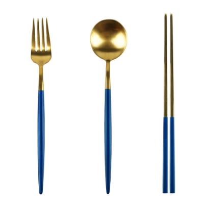 Caldo卡朵生活 深海藍霧不鏽鋼環保餐具3件組(快)