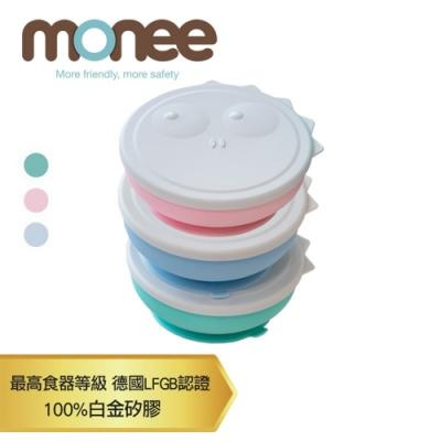 【韓國monee】恐龍造型 100%白金矽膠可吸式餐碗附蓋 (3色可選)