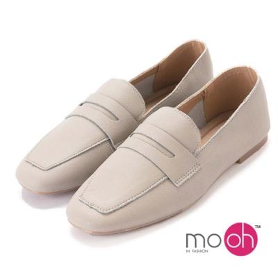 mo.oh-素面舒適柔軟真皮樂福鞋-典雅灰色
