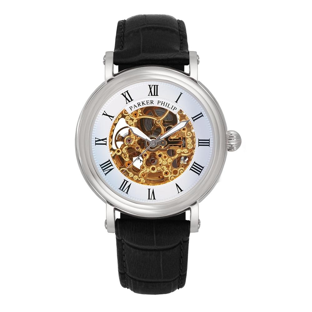 PARKER PHILIP派克菲利浦鏤空雕花古典自動上鍊機械錶(銀殻/白面/黑帶)