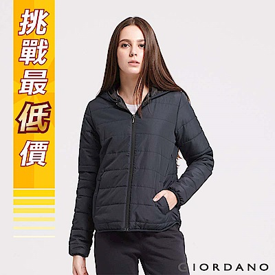 GIORDANO 女裝輕量素色連帽鋪棉外套-10 標誌黑