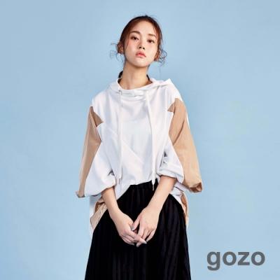 gozo 異材質拼接連帽上衣(二色)