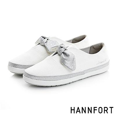 HANNFORT CALIFORNIA金沙扭結丹寧休閒鞋-女-清靚白