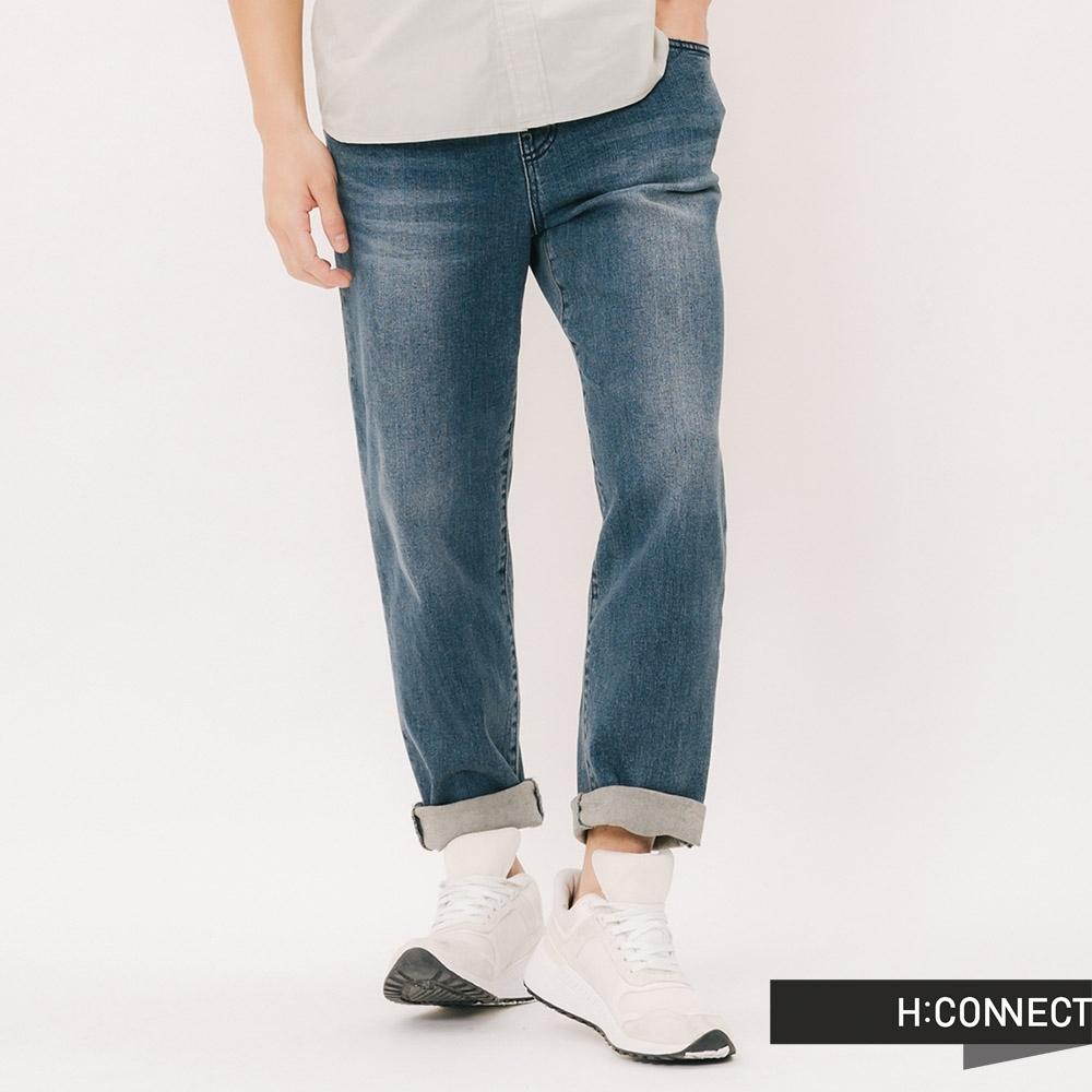 H:CONNECT 韓國品牌 男裝 - 刷色水洗鬆緊牛仔褲 - 藍