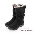 【CUMAR】中性之美簡約厚底台休閒風格雪靴短靴-黑