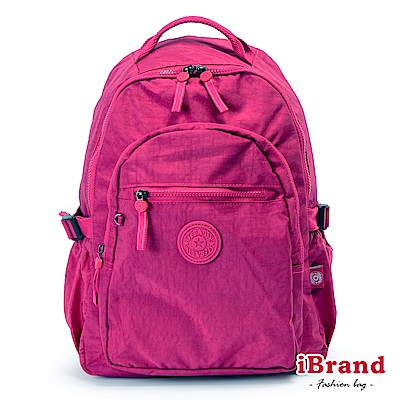 iBrand後背包 簡約素色超輕盈尼龍口袋後背包-桃紫色