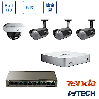 AVTECH FULL HD 3室外1室內監控套裝方案
