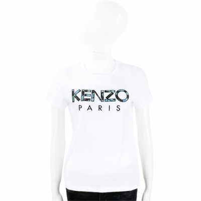 KENZO 迷彩補丁字母白色短袖T恤(女款)