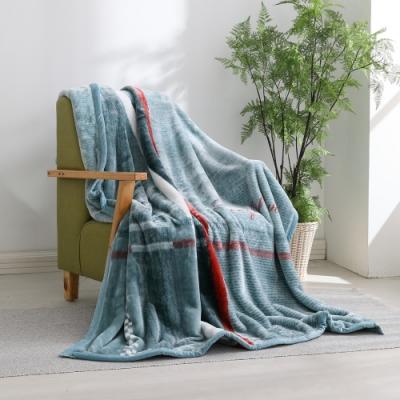LAMINA 法蘭絨加厚雙面極暖細柔雲毯-大格紋藍