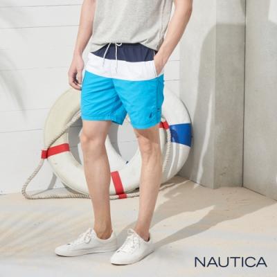 Nautica經典拼接鬆緊綁帶海灘褲-淺藍