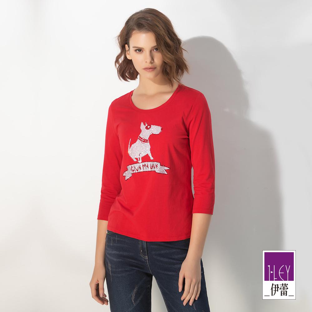 ILEY伊蕾 精緻燙鑽牛頭㹴印花棉質上衣(紅)
