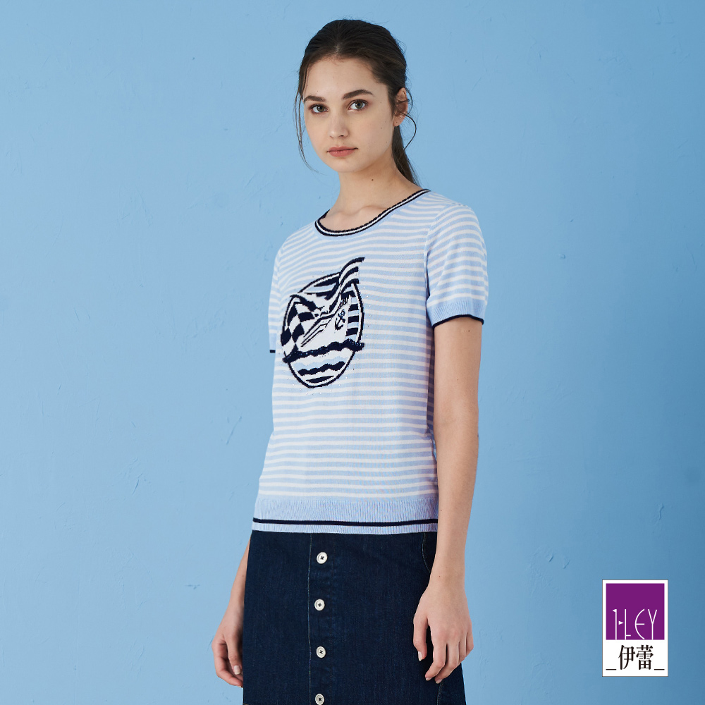 ILEY伊蕾 清新海洋風撞色條紋針織上衣(粉/水)