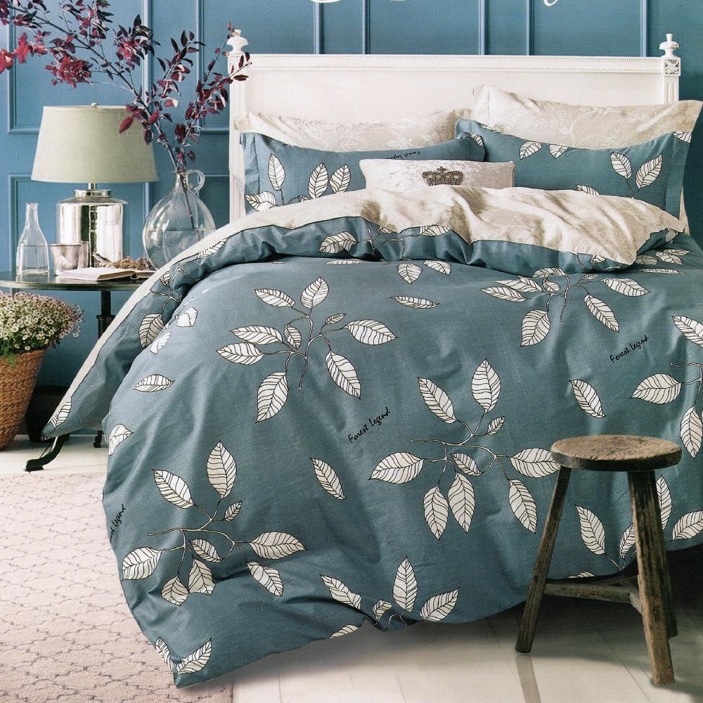 Grace Life 葉知秋-灰 台灣精製 雙人精梳純棉床包三件組~床圍高度35公分