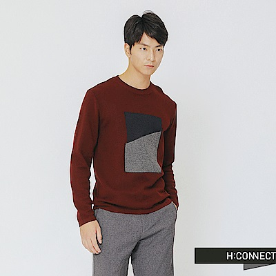 H:CONNECT 韓國品牌 男裝-色塊拼接針織上衣-紅