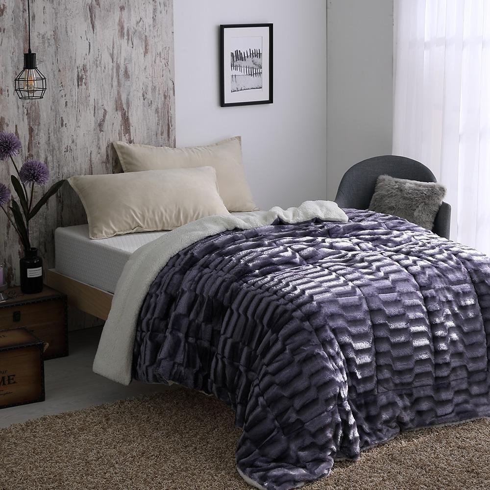 Cozy inn 立體仿貂絨羊羔絨厚毛毯-紫