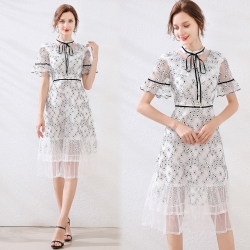 【KEITH-WILL】(預購) 歐洲站蕾絲氣質洋裝