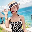 AH dream夢想女孩 鋼圈 兩件式 黑色假連身式燕尾裙泳裝Q6010