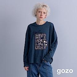 gozo OK塗鴉拼貼刺繡文字長T(深藍)