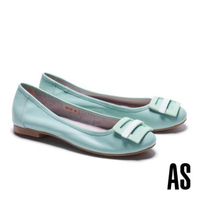 低跟鞋 AS 百搭舒適烤漆方釦水染牛皮低跟鞋-綠