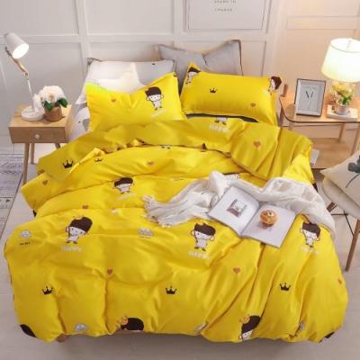 A-one 雪紡棉 雙人床包/枕套 三件組-快樂女孩-黃