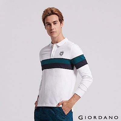 GIORDANO 男裝立體刺繡撞色長袖POLO衫-21 標誌白