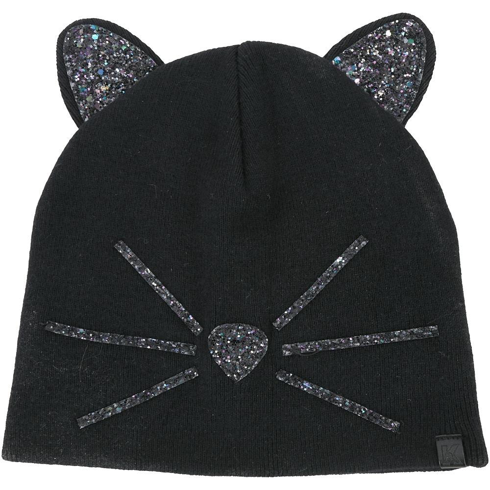 KARL LAGERFELD Choupette 金蔥貓咪密實針織毛線帽(黑色)