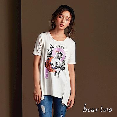 beartwo 休閒時尚圖案圓領長版短袖上衣(二色)